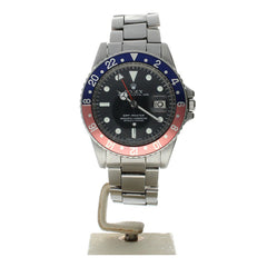 Rolex GMT-Master II Stainless-Steel 1675 Black Dial Mens 40-Mm Automatic Self-Wind Sapphire Crystal. Swiss Made Wrist Watch