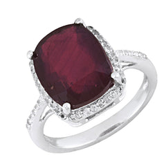 14K White Gold Over Sterling Silver Halo Ring With Ruby & Topaz 7.12 Cttw Siz-8