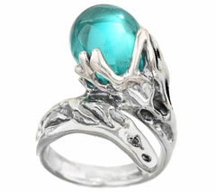 QVC Kalos by Hagit Teal Glass Bead and Sterling Wrap-Design Ring SZ-9
