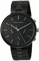 NWT Vince Camuto VC/1098BKTB Mens Black Stainless Steel Chrono Watch