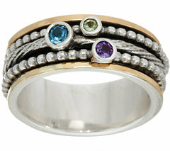 QVC Or Paz Sterling Silver &14K Gold Multi-Gemstone Spinner Ring Ring Sz-6