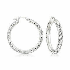 "14k Gold On Sterling Silver 1-1/2"" Wheat Hoop Earrings by Silver Style QVC"