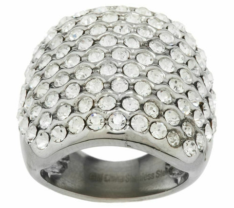 QVC Steel by Design Stainless Steel Bold Crystal Cocktail Ring Szie 5