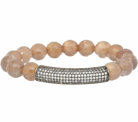 Ellie Madison Gemstone & Glass Crystal Station Stretch Bracelet SZ-8 QVC