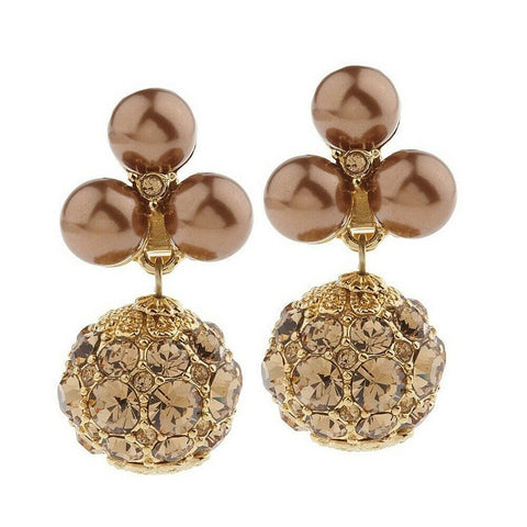 QVC Isaac Mizrahi Live Sparkling Pave & Simulated Pearl Earrings
