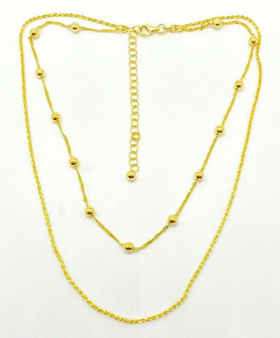 "14K Yellow Gold Over Sterling Double Strand Choker 13""+3"" Necklace Silver Style - Yellow Gold"