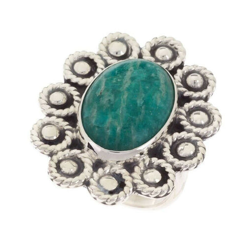 QVC Artisan Crafted Sterling Silver Oval Amazonite Gemstone Ring Size 9