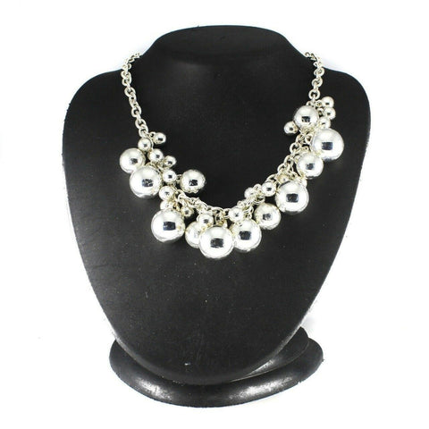 "QVC Silvertone High Polished Bead 18"" Necklace"