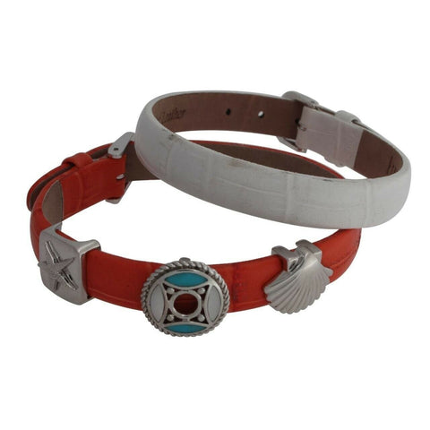 QVC Prerogatives Sterling Nautical Slide Charms Leather Straps Bracelet