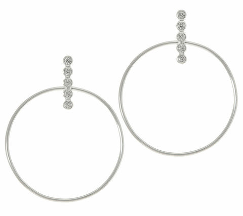 14K Gold Over Sterling Silver Circle Crystal Earrings by Silver Style QVC