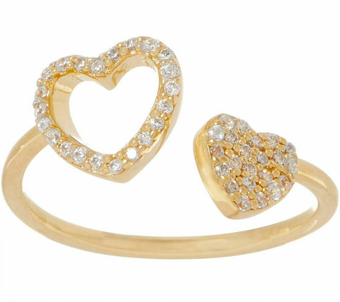 1/10 CTTW 18K Yellow Gold On Diamonique Heart Adjustable Motif Ring QVC - Yellow Gold