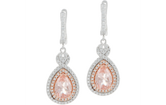 QVC Sold Out Diamonique and Simulated Morganite Earrings, Sterling