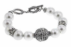Sterling Silver Antique Bali Designs Shell Pearl Beads Toggle Bracelet