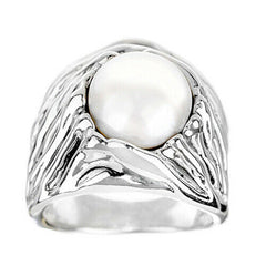 QVC Hagit Sterling White Cultured Freshwater Pearl Nest Textured Ring Size 8
