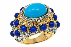 "KJL by Kenneth Jay Lane"" High Drama East/West Turquoise Gold Tone Ring Size 7"