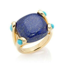 HSN Rarities Blue Lapis & Turquoise Accents Sterling Silver Fashion Ring
