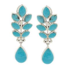 QVC Sterling Silver Turquoise Leaf Design Dangle Earrings