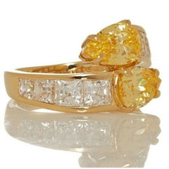 HSN Daniel K Canary Pear & Set Princess Cut Sterling Bypass Ring Size 6