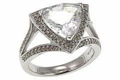 Colleen Lopez 14K Gold Over Sterling Silver Trilliant Gem and Diamond Ring SZ-6