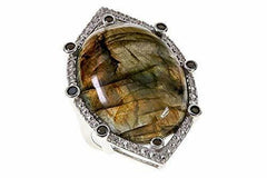 14K White Gold Over Colleen Lopez Labradorite,Spinel and White Topaz Ring Size 6