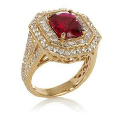 HSN Jean Dousset 7.7ct Absolute Ruby Octagon Shape Milgrain Ring Size 5