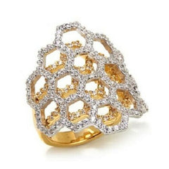 HSN Victoria Wieck 1.1 Ctw Absolute Honeycomb 2-tone Ring Size 8