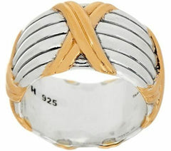 Peter Thomas Roth Sterling Silver & 18K Clad Wide Designer Band Ring 5 QVC
