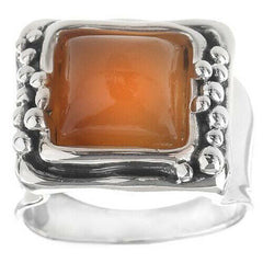 QVC Hagit Square Carnelian Cabochon Sterling Solitaire Ring Size 10