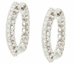 1/5 Cttw Diamond Huggie Hoops Earring 14K W Gold On Sterling, Affinity QVC