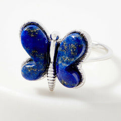 QVC Opaque Gemstone Sterling Silver Butterfly Ring Size 10