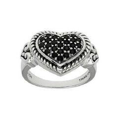 Elyse Ryan Sterling Silver 0.35ct Black Spinel Heart Ring sz-7 QVC