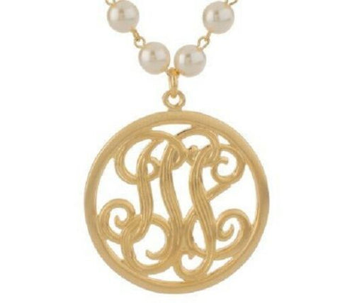 "QVC JohnWind Studio Monogram Pendant 18-3/4"" Simulated Pearl Necklace"