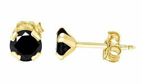 0.40 Ct Diamond Labgrown Moissonite 10K Solid Gold Black Stud Earrings