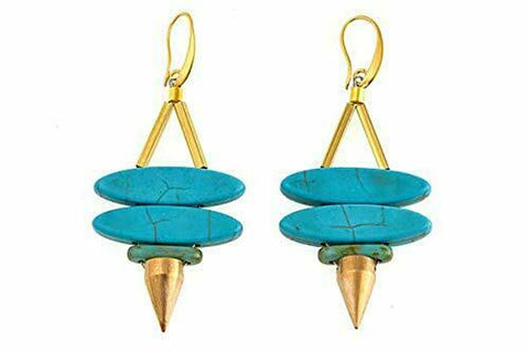 David Aubrey Colored Stone Double Marquise Spike Drop Earrings- Turquoise
