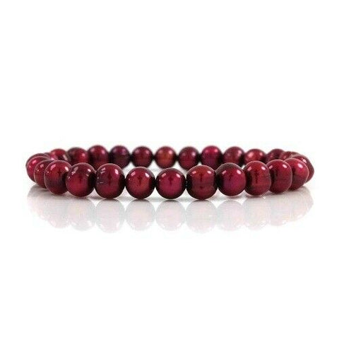 QVC Honora Cherry Colored Cultured Freshwater Pearls Stretch Bracelet