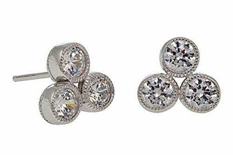 Leslie Greene 1.5 Ct Diamond Simulant 14K Gold Clad Sterling Cluster Earrings