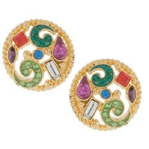QVC Haskell Jeweled Multi Color Crystal Stud Earrings