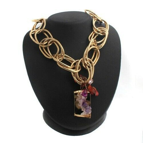 "HSN Iman Global Amethyst Color Dangle 23"" With Chic Link Necklace"