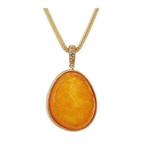 QVC Simulated Drusy Goldtone Enhancer on Fancy Pendant With Chain