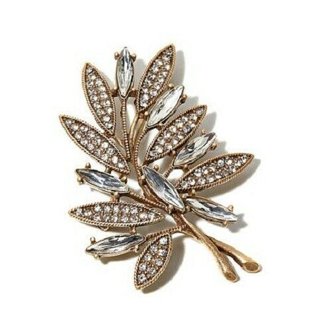 HSN RJG Clear Crystal Leaf Pin SOLD OUT