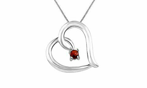 Simulated Garnet Tilted Heart Pendant Necklace in 14k Gold On