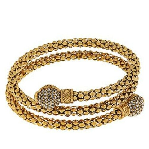 HSN Emma Skye Crystal-Accented Popcorn Chain Coil Wrap Bracelet