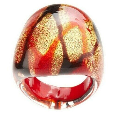 QVC MILOR Murano Glass Red Splatter Design Dome Ring Size 6.75