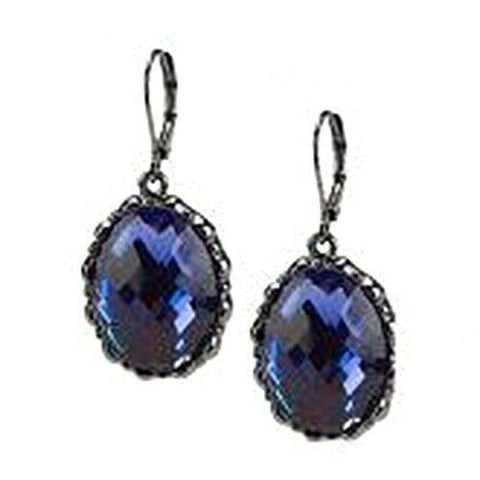 QVC Joan Rivers Oval Shape Purple Lever Back Drop Earrings