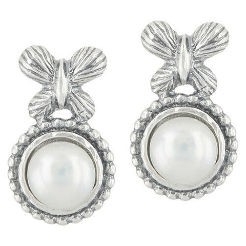 QVC Or Paz Cultured Pearl Sterling Silver Butterfly Stud Earrings