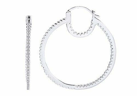 "Inside Outside 1-1/2"" Trendy Click Top Cubic Zirconia Hoop Earrings Sterling"
