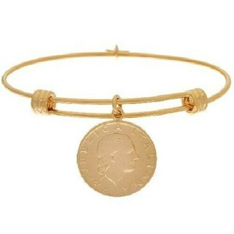 Bronzo Italia Bangle Expandable Yellow Bronze 200 Lire Coin Small QVC