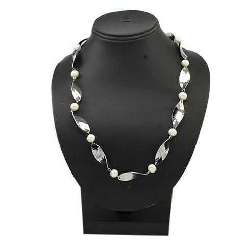 "QVC Stainless Steel Clear Cultured Freshwater Pearl Link 36"" Necklace"