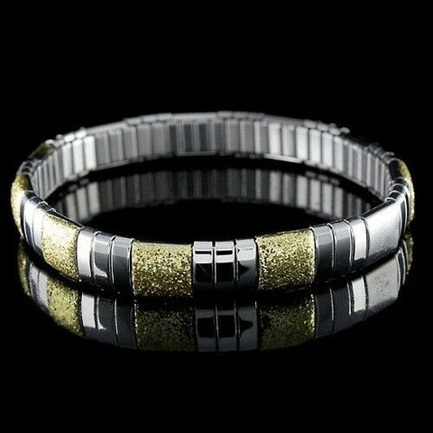 QVC Steel By Design Stainless Steel Yellow Glitter Average Stretch Bracelet