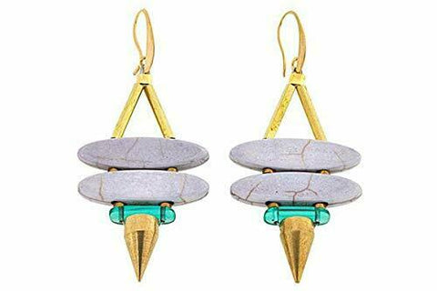 David Aubrey Colored Stone Double Marquise Spike Drop Earrings-Gray QVC